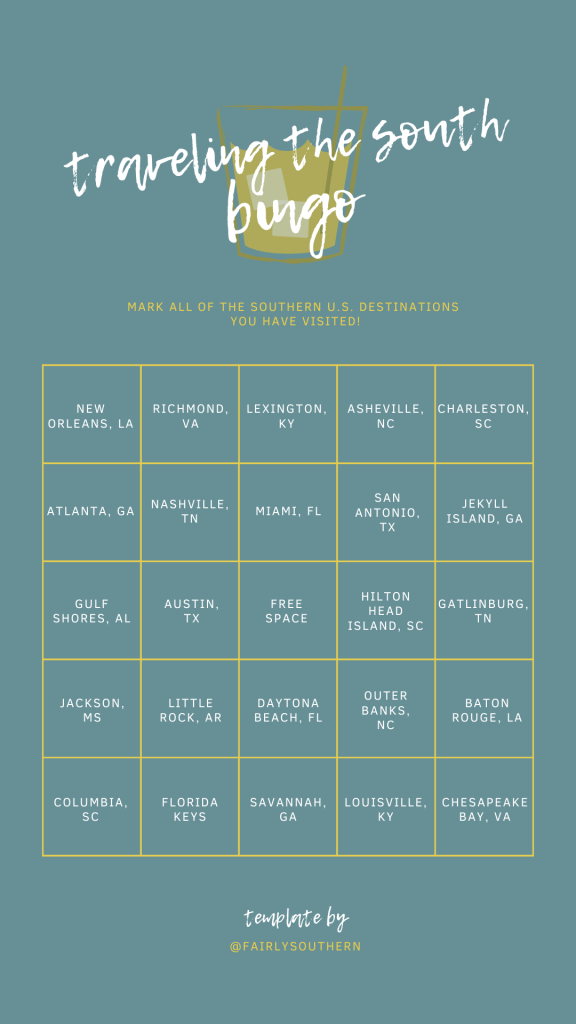 Traveling the South Instagram Bingo Template  |  Fairly Southern