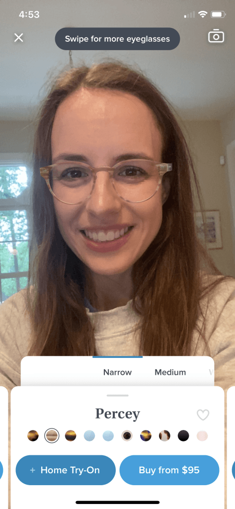 Virtual try on - Percey blue light glasses in narrow - Try on ethically made blue light glasses from Warby Parker at home!  |  Fairly Southern