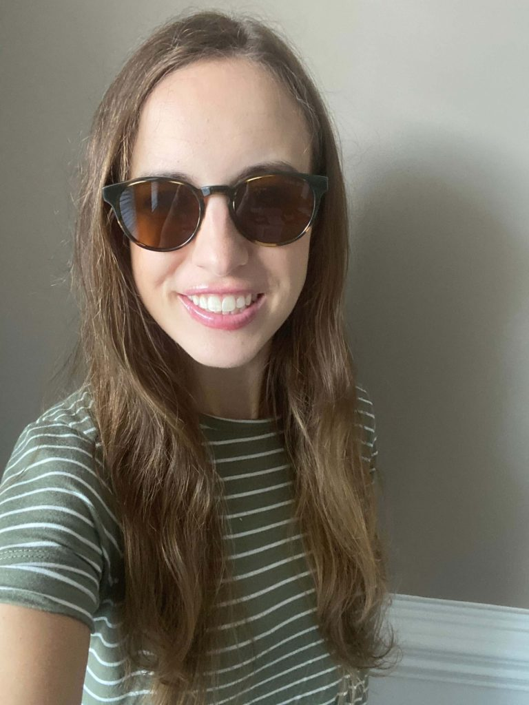 Percey sunglasses in Striped Sassafras, narrow - Try on ethically made blue light glasses from Warby Parker at home!  |  Fairly Southern