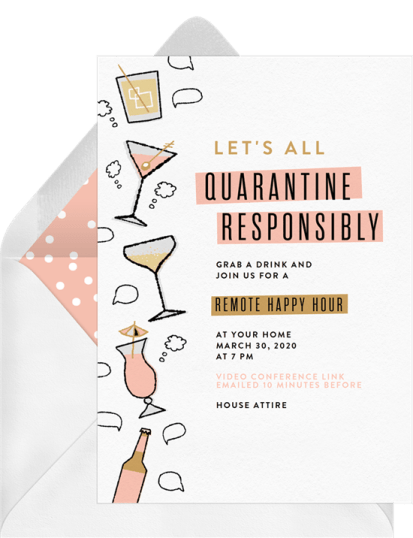 Quarantine Responsibly remote happy hour invitation by Greenvelope | Fairly Southern