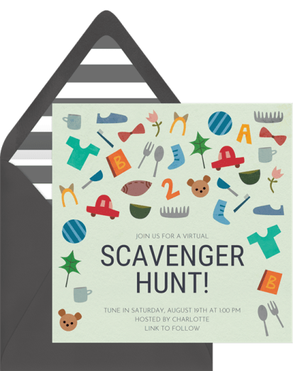 Virtual scavenger hunt invitation by Greenvelope | Fairly Southern