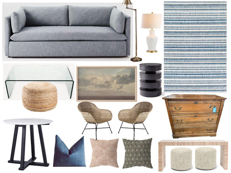 Gray + Rattan Socially Conscious Living Room by Gratify Home | Fairly Southern