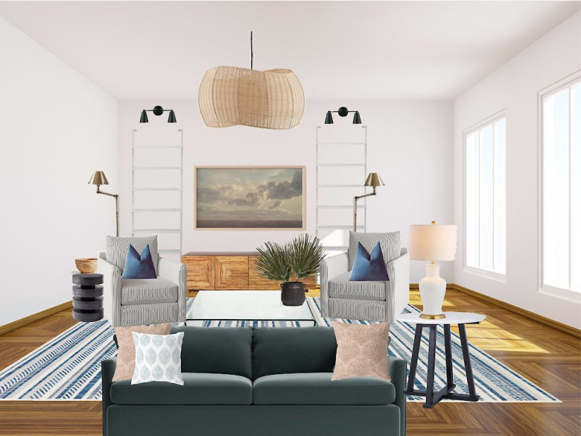 Green + Striped Socially Conscious Living Room by Gratify Home | Fairly Southern