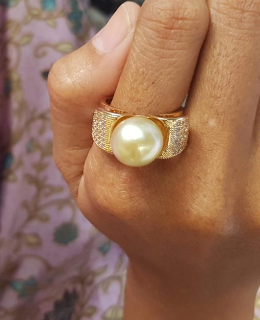 925 silver sterling Natural 7mm south sea white pearl Rings