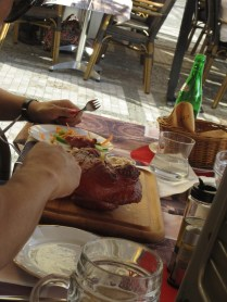 The people next to us are have the Pig's Knee (Knuckle) Czech specialty. I've had that in Vienna too.