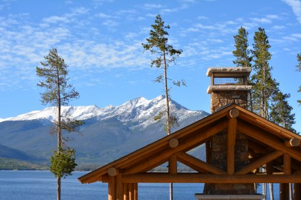 Lake Dillon picnic pavilion with Peak 1 and 2 in background.
