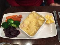 Fish pie with smoked haddock in mashed potatoes. Fairly flavorless. Do I detect a trend?
