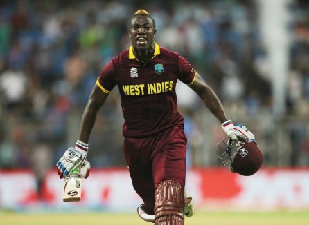 West Indies Andre Russell celebrates after his team's win over India during their ICC World Twenty20 2016 cricket semifinal match at Wankhede stadium in Mumbai, India,Thursday, March 31, 2016.(AP Photo/Rafiq Maqbool)