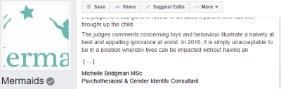 Bridgman was the GID 'specialist' consulted by the mother in a recent high-profile legal case