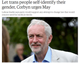 Jeremy Corbyn throws women under trans bus