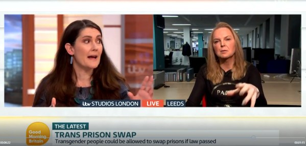 Trans Prison Swap on Good Morning Britain. Dr Nicola Williams discussing transgender women in prison with India Willoughy. FairPlayForWomen.com