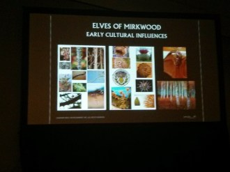 They consulted Mongolian cultural representations as part of their research in designing the woodland elf culture. And the character, costume, and weapons designs are all based on thorny plants in the forest.