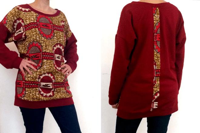 Longsweater für Damen aus Biobaumwolle mit Elementen aus Afrikanischem Wax Print Stoff