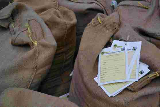 Each sack labelled
