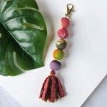 Kantha Bead & Fringe Bag Clip