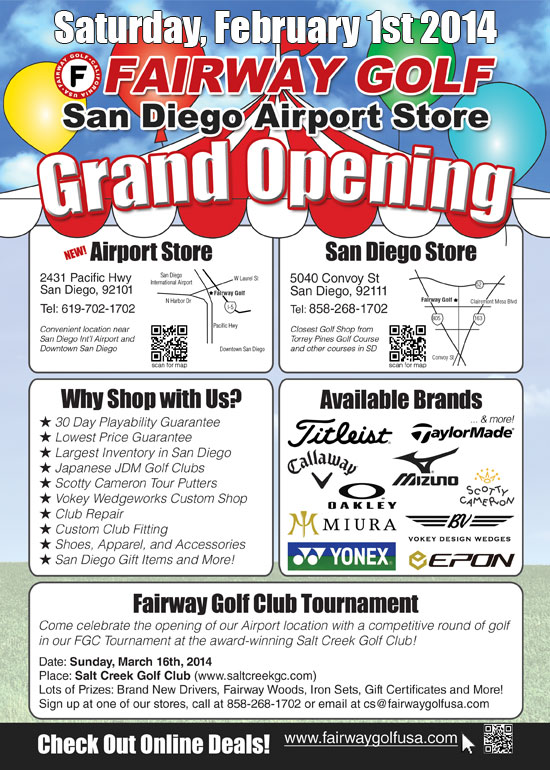 Fairway Golf Airport Store OPEN NOW – Contact Customer