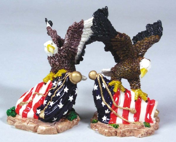 "2 Assorted 4"" Polyresin Eagles on U.S. Flags    3-51396"