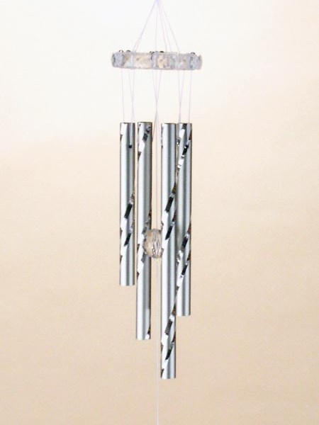 Pewter Bird Wind Chime with Crystal Dangle   6-343