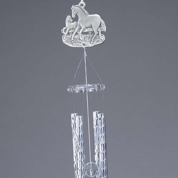 Pewter Horse Wind Chime with Pewter Horse Dangle   6-363