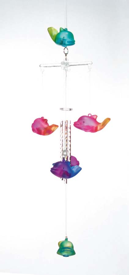 """20"""" 2-Tone Dolphin Wind Chimes  6-9"""