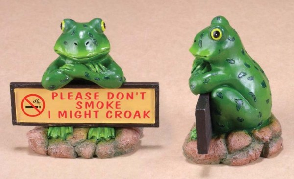 """Ceramic Croaking Frog with Sign """"Please Don't Smoke I Might Croak""""   7-4"""