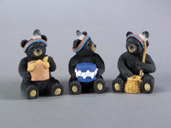 Native American Resin Black Bears - 3 asst.   7-90163