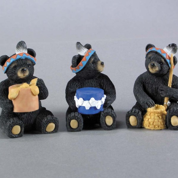Native American Resin Black Bears - 3 asst.   7-90163