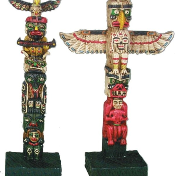 "8"" Polyresin Molded Totem Poles. Assorted Styles.   7-90828"