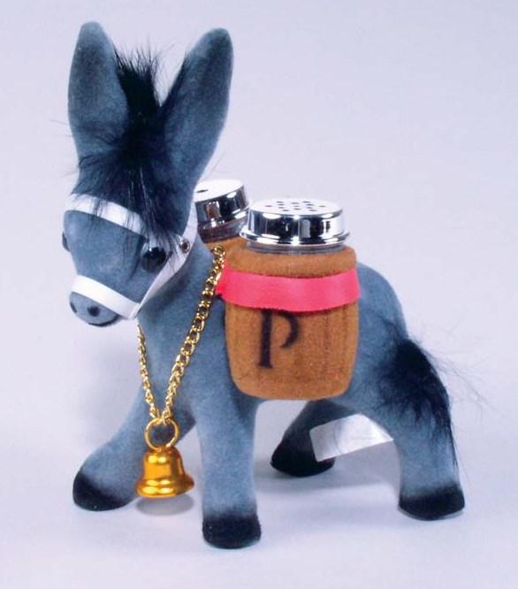 "4.5"" Flocked Donkey Salt & Pepper Set    8-24"