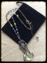 """Vintage Art Nouveau Figural Woman Bust Pendant Necklace, Vintage Czechoslovakian Lavender & Lime Green Faceted Crystals, Vintage-Inspired Chain. 18"""" Length. Arrives in a Black Velvet Bag. Comes with Matching Earrings. #153"""