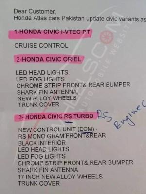 honda civic face lift details