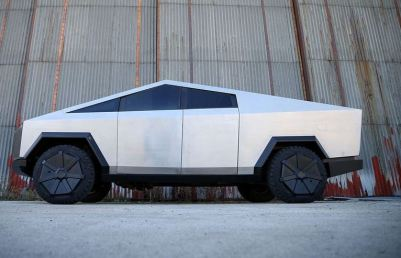 Tesla Cyber Truck Replica with Gasoline engine Side View