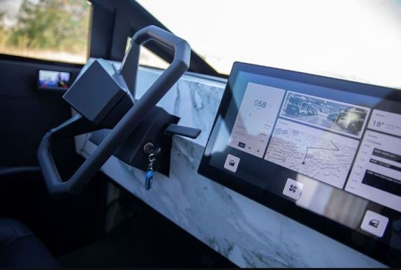 Tesla Cyber Truck Replica with Gasoline engine steering wheel and infotainment screen