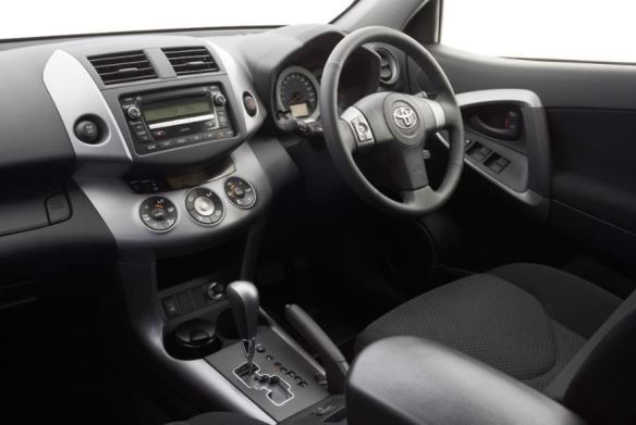 3rd generation Toyota Rav4 SUV front cabin interior view