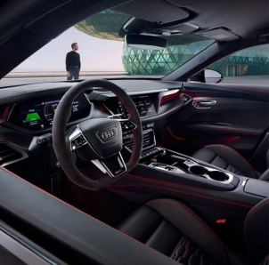 1st generation Audi E tron GT RS All Electric Sedan front cabin interior view