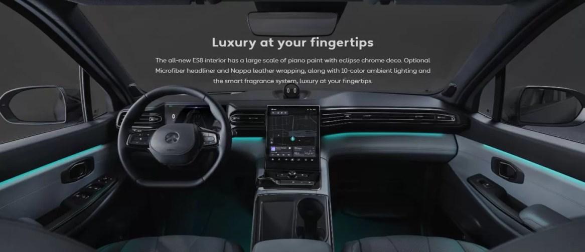 1st generation Nio ES8 electric SUV front cabin interior view