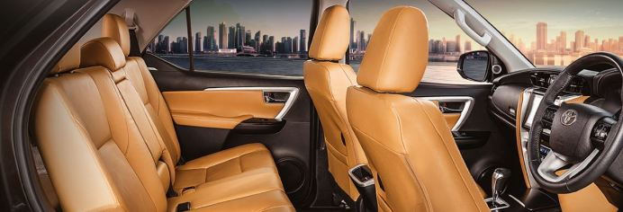 2nd generation facelifted toyota fortuner suv full interior cabin view