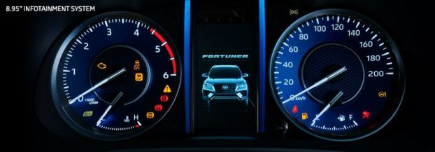2nd generation facelifted toyota fortuner suv instrument cluster view