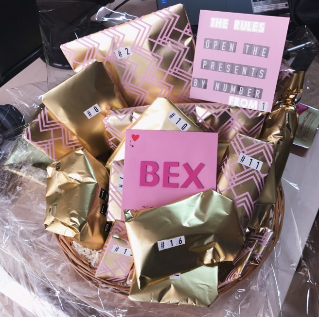 Gift basket with open card