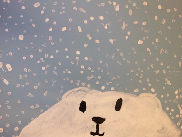 Polar Bear in Snow Painting