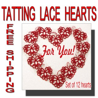 12 red tatting hearts
