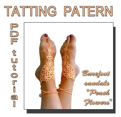 Barefoot sandals Peach Flowers pattern