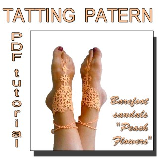 Barefoot sandals Peach Flowers pattern