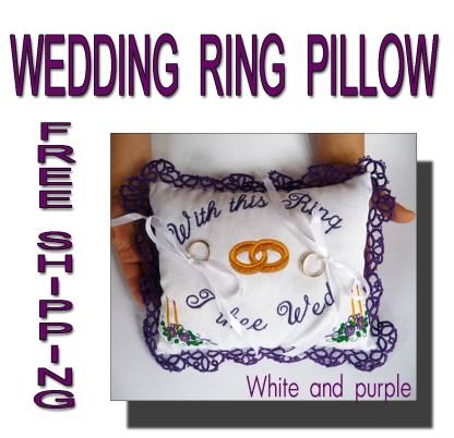 Wedding ring pillow purple