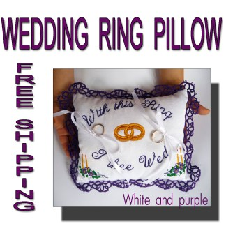 Wedding ring pillow purple