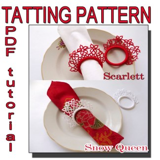 Two tatting pattern napkin rings, tatting tutorial, handmade, craft, home decor, table serving, how to make, what to do at home