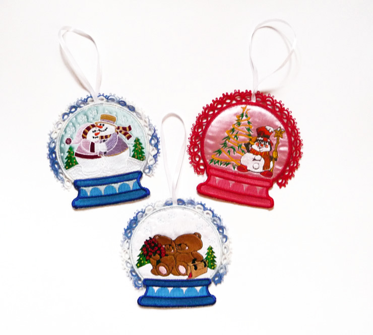 personalized embroidery snow globe