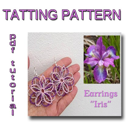 Earrings Iris tatting pattern