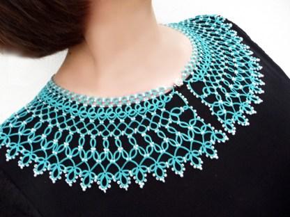 Caribbean Sea collar necklace, tatting