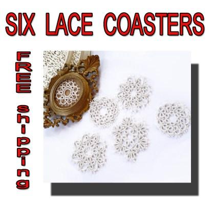 Set of six coasters lace